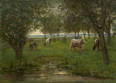 Cattle in an orchard  by Piet Mondriaan