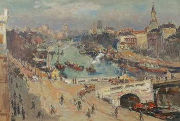 A winter morning in Rotterdam harbour by Evert Moll