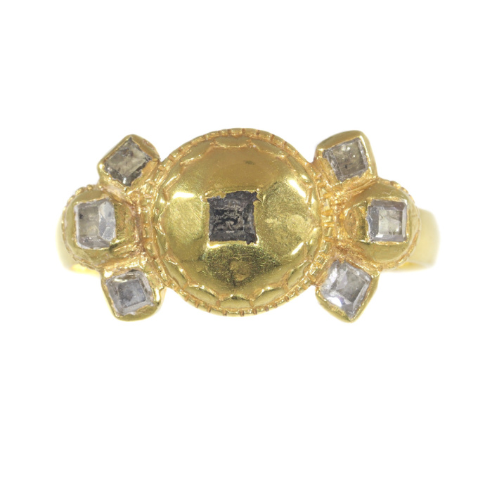 17th Century Antique Baroque diamond gold ring by Unknown Artist
