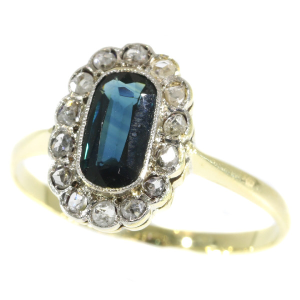 Vintage diamond and sapphire engagement ring by Unknown Artist