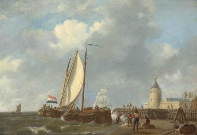 Ship near the harbour by Johannes Hermanus Koekkoek