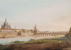 Prachtvolle große Vedute von Dresden gesehen vom Konigsufer Gestochen by Hammer, Christian Gottlob