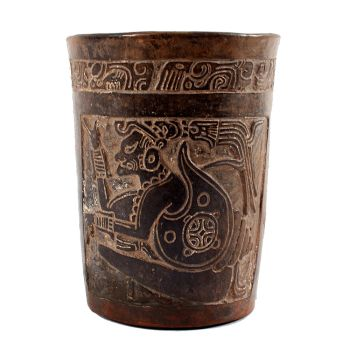 Central American Mayan terracotta cylindrical vessel, ca. 550 – 950 AD by Unknown Artist
