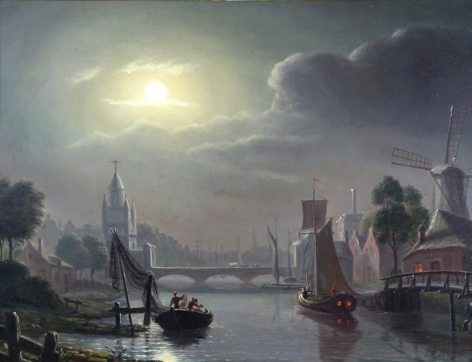 Amsterdam Gate at Haarlem by moonlight by Jacobus Theodorus Abels