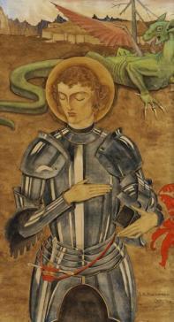 St. Joris in gebed voor de strijd by Lodewijk Bruckman