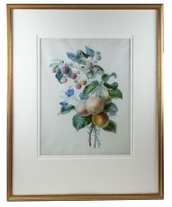 Watercolour with flowers and fruits on vellum by a pupil of Redouté by Claire Delarue