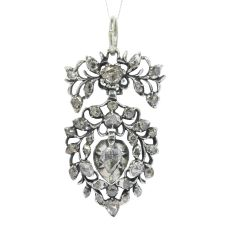 Antique Flemish diamond heart pendant circa 1700 by Unknown