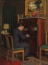 Interior of Karel, seated at his desk by Lodewijk Bruckman