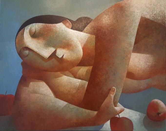 Vrouw met drie appels by Peter Harskamp