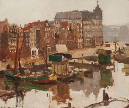 Cityscape Amsterdam, Damrak and the Victoria Hotel by George Hendrik Breitner