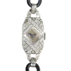 Decorative platinum diamond Art Deco ladies watch by Unknown Artist