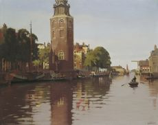 The Montelbaanstoren on the Oude Schans in summer by Willem Witsen