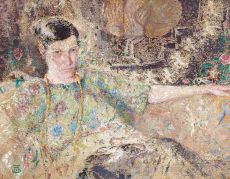 Jeune femme au collier dans un intérieur by Marcel Jefferys