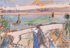 Familie langs de waterkant by Jan Toorop