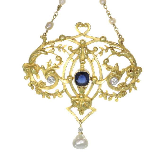 Late Victorian French gold pendant on chain with diamonds sapphires and pearls by Unknown Artist