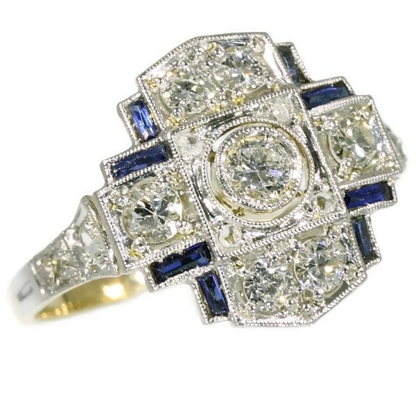 Art Deco engagement ring with diamonds and sapphires by Unknown Artist