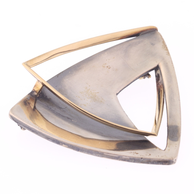 Artist Jewelry by Chris Steenbergen silver and gold brooch by Chris Steenbergen
