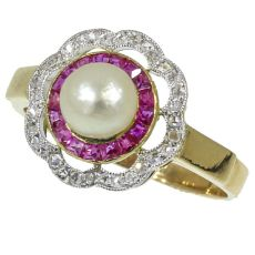 Most charming Art Deco engagement ring with rubies rose cut diamonds and a pearl by Unknown Artist