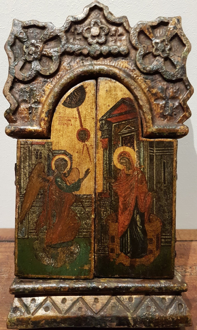 Greek icon: Triptych with theme The Annunciation by Unknown Artist