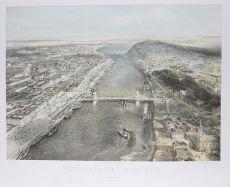 RARE, STRIKING BIRD'S EYE VIEW OF BUDAPEST   by Rudolf von Alt