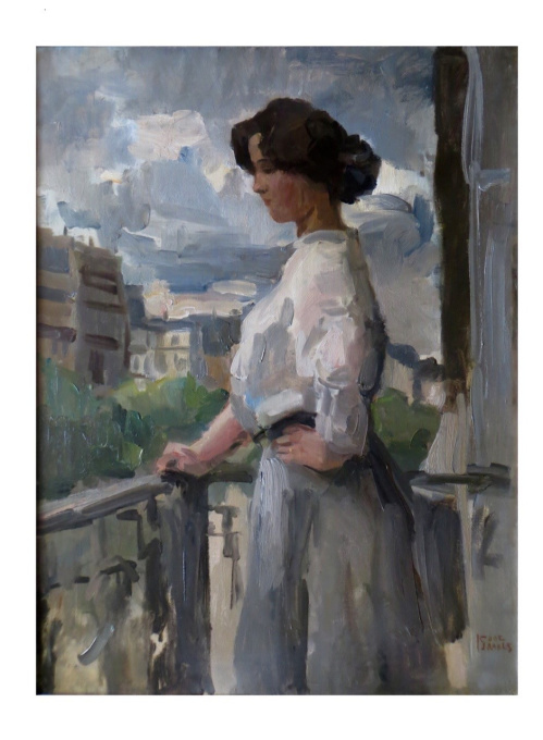 Elegant lady overlooking the Rue Clignancourt, Paris by Isaac Israels