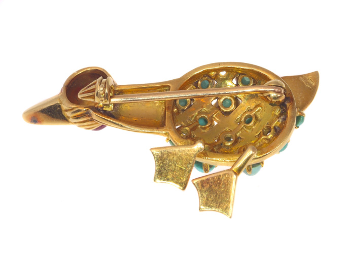 Vintage comical duck brooche with turquoises and ruby by Unknown Artist
