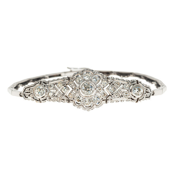 Elegant Edwardian / Belle Epoque bracelet with diamonds by Unknown Artist
