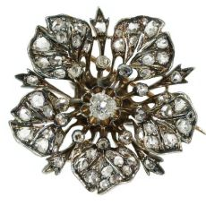 Victorian antique flower brooch fully covered with diamonds and brilliant center