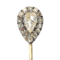 Victorian rose cut diamond tie pin by Unknown Artist