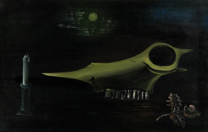 Schedel met kaars by Tinus van Doorn