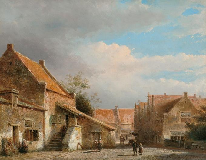 A Dutch town view by Kaspar Karsen