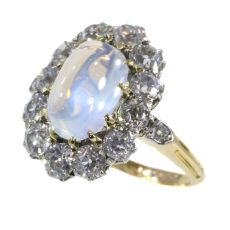 Late Victorian blueish moonstone and brilliant cut diamonds engagement ring by Unknown