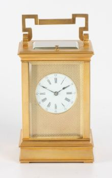 A French gilt brass Anglaise carriage clock with repeat, circa 1880. by Unknown Artist