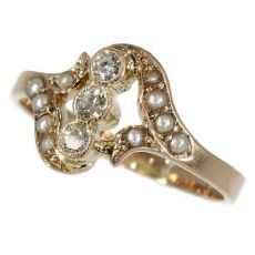 Antique diamond ring pink gold with seed pearls by Unknown Artist