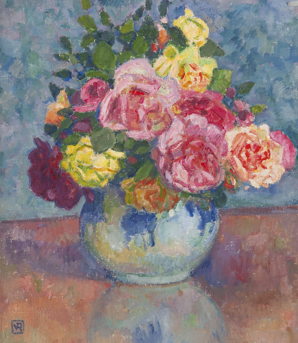 Roses in a blue vase by Unknown Artist