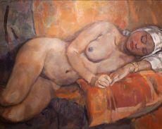 Laying nude with dark skin by Jan Sluijters