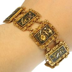 High quality gold Victorian bracelet in damascene or zougan or shakudo technique by Unknown Artist