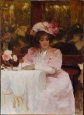 Café scene, Elegante en rose, avec verre Rosé by Victor Guerrier