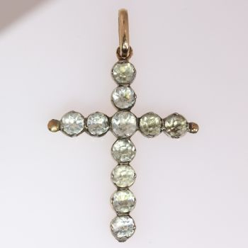 Victorian antique silver on gold cross by Unknown Artist