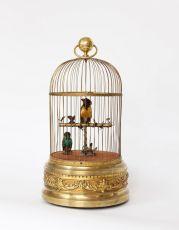 A French gilt brass bird cage automaton, circa 1900 by Bontems
