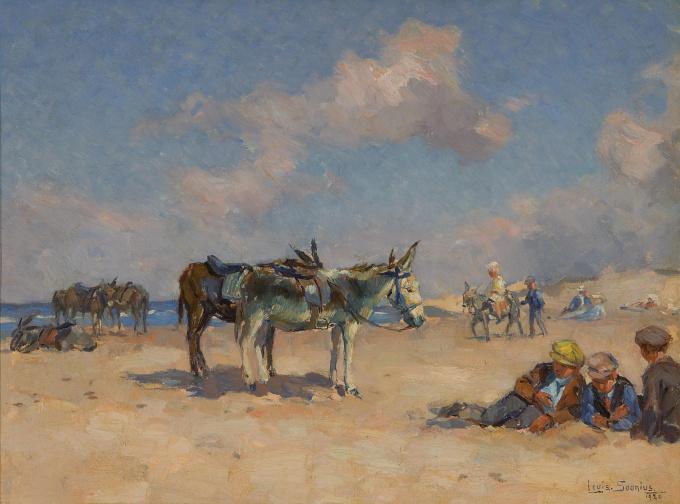 Donkeys on the beach by Louis Soonius