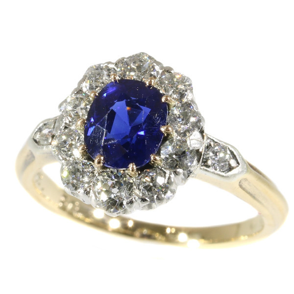 Late Victorian diamond engagment ring with beautiful Burma sapphire by Unknown Artist