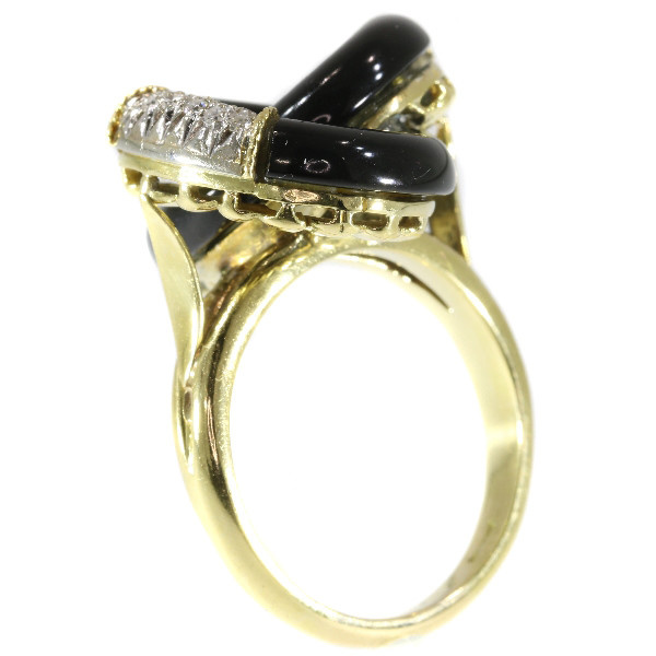 Typical Seventies ring with onyx and diamonds by Unknown