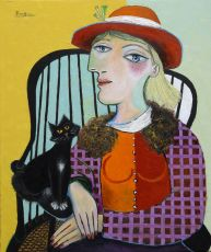 Seated woman with cat