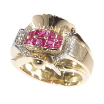 Original Vintage Retro ring with rubies and diamonds by Unknown Artist