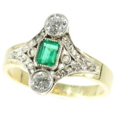 Late Victorian diamond and emerald engagement ring by Unknown Artist