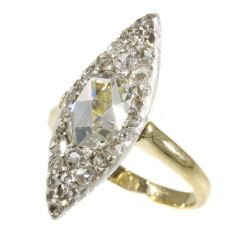 Vintage Belle Epoque navette shaped diamond ring by Unknown