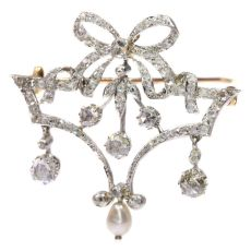 Belle Epoque Brooch In Guirlande Style With Diamonds And Pearl by Unknown Artist