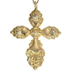 Antique cross pendant with extraordinary long antique gold chain by Unknown Artist