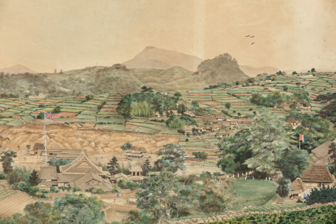 Large panoramic painting of the bay of Nagasaki by Unknown Artist